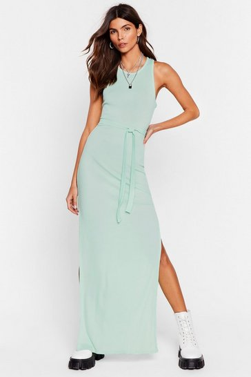 Mint Jersey Belted Slit Maxi Dress
