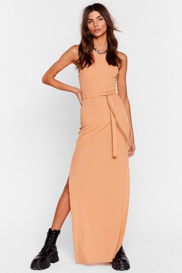 Peach Jersey Belted Slit Maxi Dress