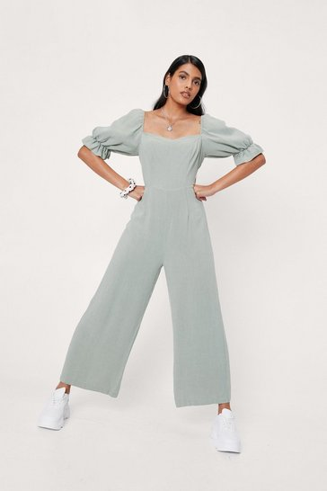 Sage Linen Look Puff Sleeve Wide Leg Jumpsuit