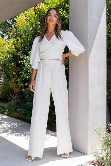 White Get in Linen Tailored Wide-Leg Pants