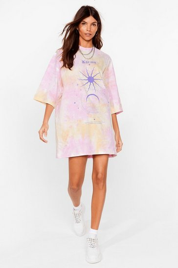 Lilac Karma's a Bitch Graphic Oversized Tee Dress