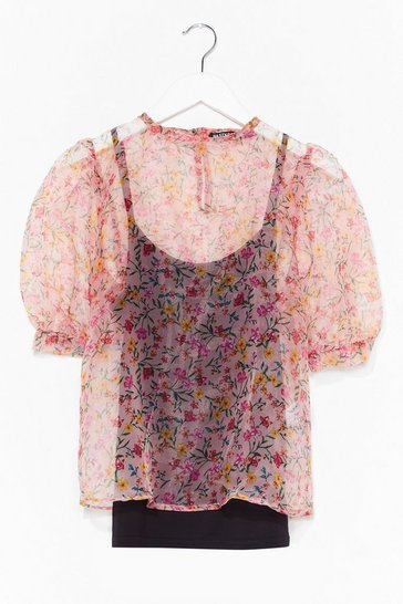 Coral Grow Old With Me Organza Floral Top