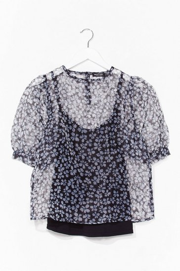 Blue Came to Suc-seed Floral Organza Top