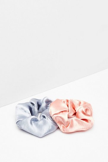 Blue Tie It Up 2-Pc Satin Scrunchies