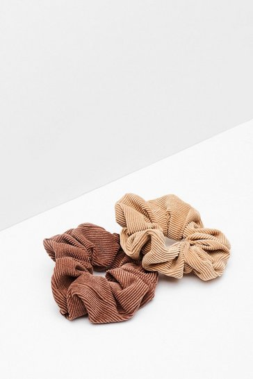 Brown Ac-cord-ing to Us Corduroy 2-Pc Scrunchie Set