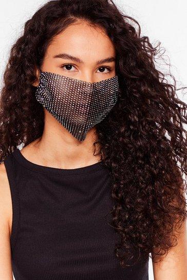 Black Diamante Fashion Face Mask