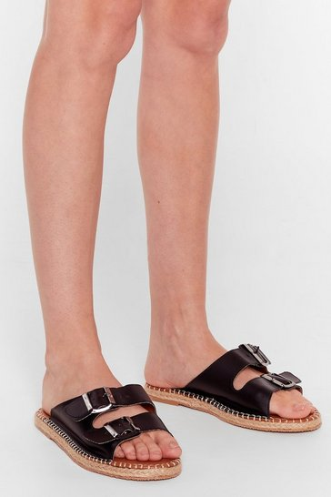 Black You Know the Espadrille Faux Leather Sandals