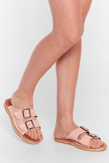 Pink You Know the Espadrille Faux Leather Sandals