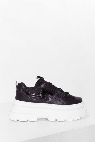 Black Get Down Saturday Night Faux Leather Chunky Trainers