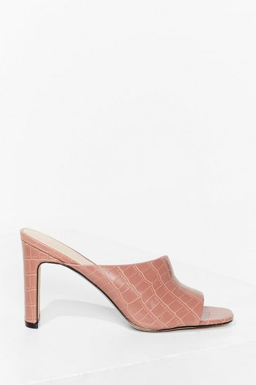 Pink Croc All Night Long Faux Leather Heeled Mules
