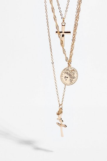 Gold Crossing Paths Layered Pendant Necklace