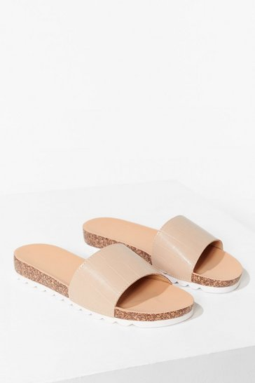 Beige Step A-Slide Faux Leather Croc Sliders
