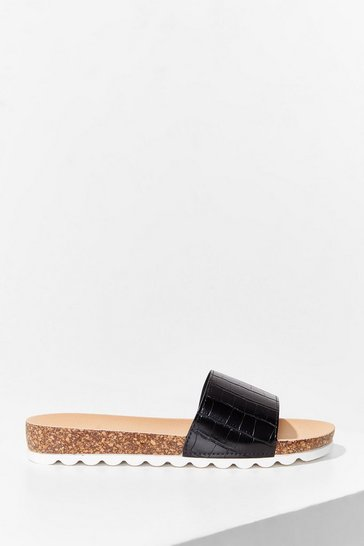Black Step A-Slide Faux Leather Croc Sliders