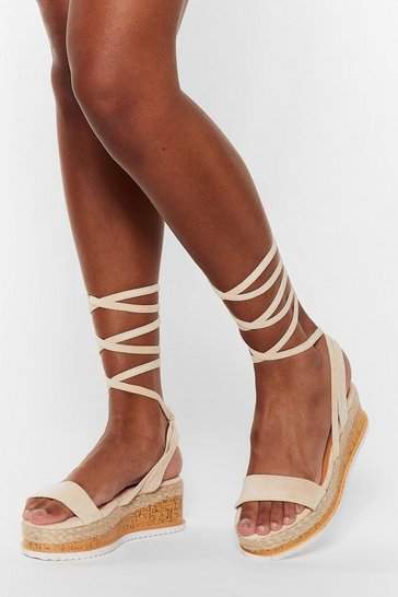 Beige Draw to a Close Wrap Cork Sandals