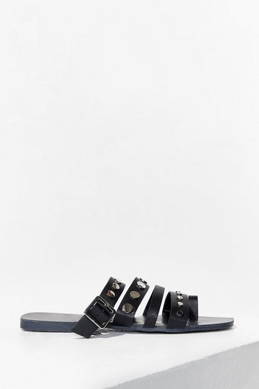 Black Stud Vibes Faux Leather Flat Sandals