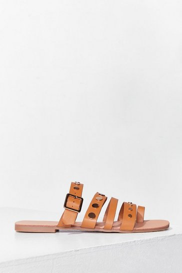 Tan Stud Vibes Faux Leather Flat Sandals
