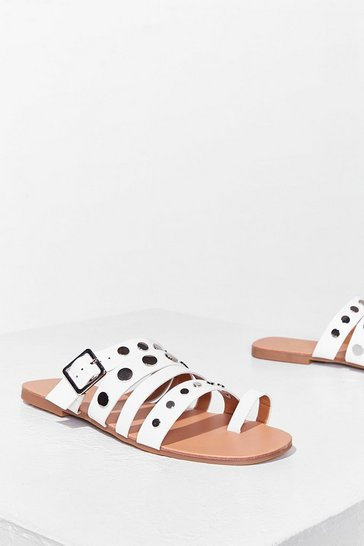 White Stud Vibes Faux Leather Flat Sandals