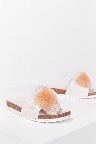 Beige Havin' a Ball Faux Leather Pom Pom Sliders
