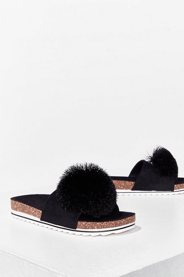 Black Havin' a Ball Faux Leather Pom Pom Sliders