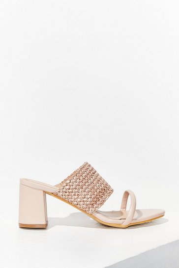 Beige The Path We've Woven Faux Leather Block Heels