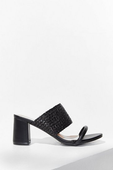 Black The Path We've Woven Faux Leather Block Heels