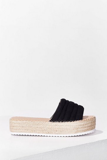 Black Pad Girls Do It Well Espadrille Sliders