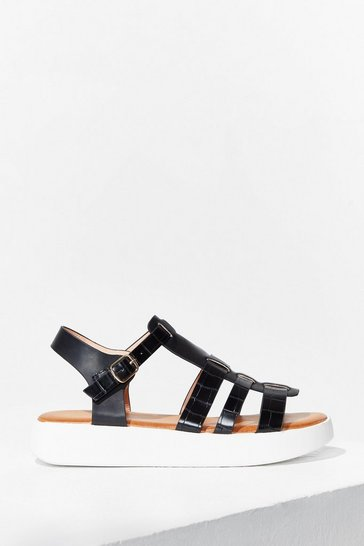Black Caught Up Cage Platfrom Sandals