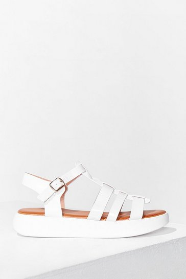 White Caught Up Cage Platfrom Sandals