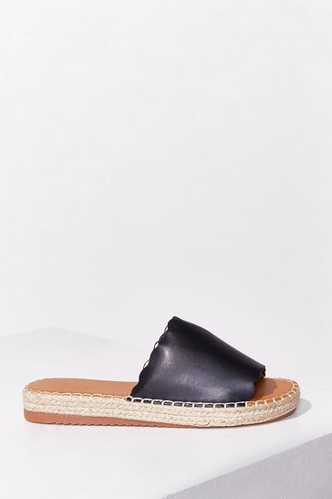 Black Just an Espadrille Faux Leather Sliders