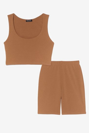 Camel SCOOP NECK BRALET AND CYCLING SHORT CO ORD SET