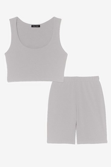 Grey SCOOP NECK BRALET AND CYCLING SHORT CO ORD SET