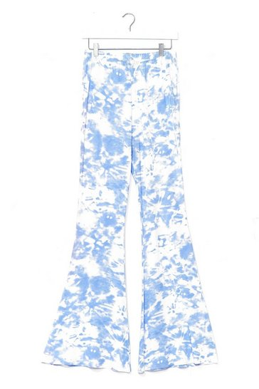 Baby blue Choose Happy Tie Dye Flare Pants