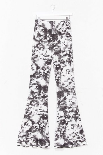 Black Choose Happy Tie Dye Flare Pants