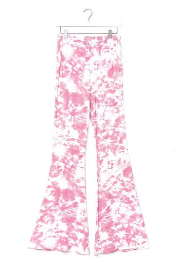 Pink Choose Happy Tie Dye Flare Pants