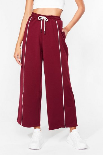 Burgundy Do It Stripe Relaxed High-Waisted Joggers