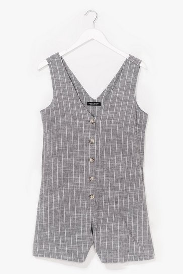 Grey That's All Stripe Button-Down Romper