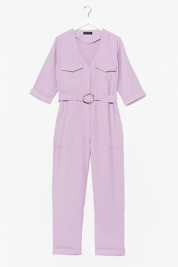 Lilac All At Once Utility Belted Jumpsuit