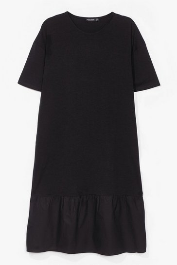 Black Hunt Hem Out Relaxed Midi Dress