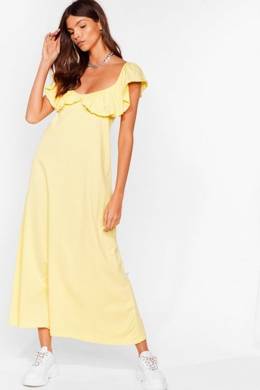 Lemon Frill Into You Ruffle Maxi Dress