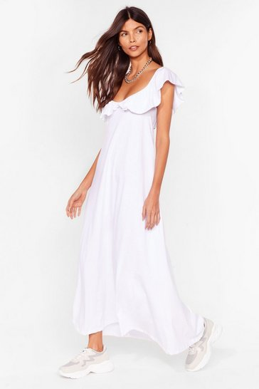 White Ruffle Neck Loose Maxi Dress