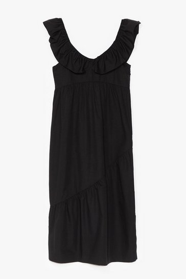 Black COTTON POPLIN FRLL SHOULDER MAXI SMOCK DRESS