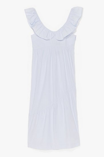 Pale blue COTTON POPLIN FRLL SHOULDER MAXI SMOCK DRESS