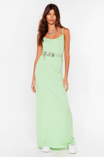 Green Relaxed Scoop Neck Maxi Dress
