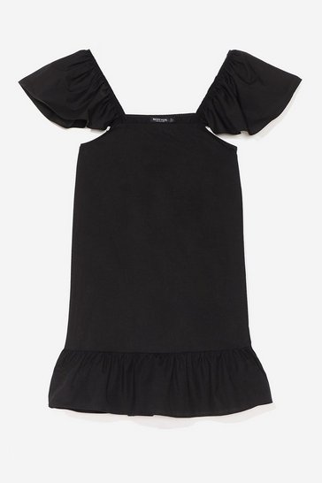 Black We Frill See You There Ruffle Mini Dress