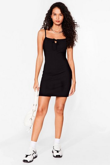 Black Can't Tie Us Down Ribbed Mini Dress