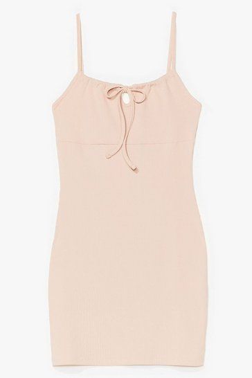 Nude Can't Tie Us Down Ribbed Mini Dress