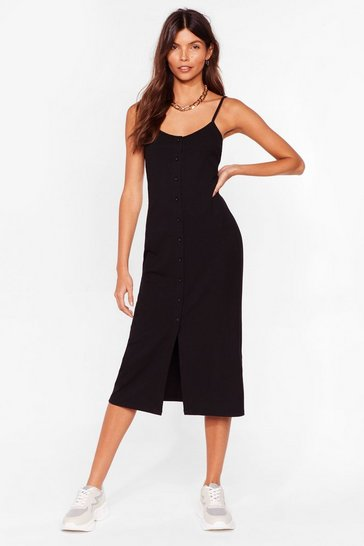 Black Come On Button-Down Ribbed Midi Dress
