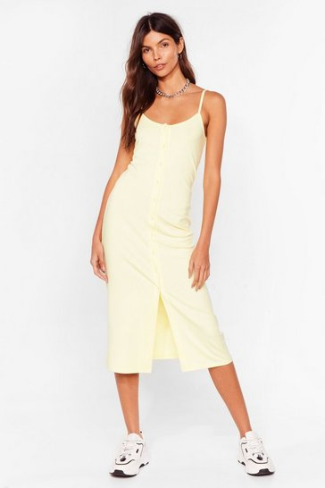 Lemon Come On Button-Down Ribbed Midi Dress