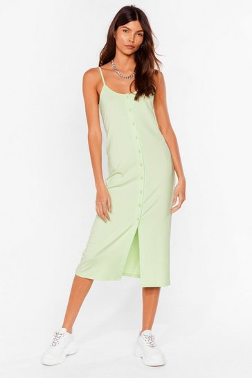 Pistachio Come On Button-Down Ribbed Midi Dress