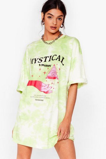 Green Mystical Vision Tie Dye Graphic T-Shirt Dress